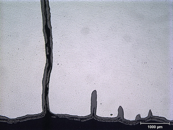 Profile of cracks from the interior surface